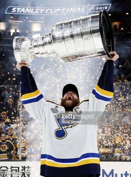 Alex Pietrangelo of the St Louis Blues celebrates with the Stanley Cup after defeating the Boston Bruins in Game Seven to win the 2019 NHL Stanley...