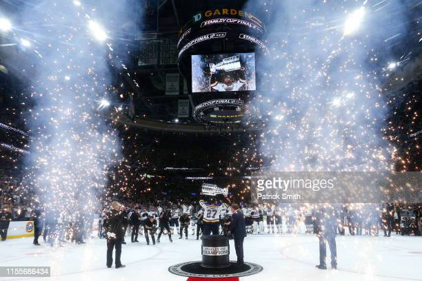Alex Pietrangelo of the St. Louis Blues celebrates with the Stanley Cup after defeating the Boston Bruins in Game Seven to win the 2019 NHL Stanley...