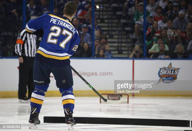Alex Pietrangelo of the St Louis Blues competes in the Dunkin Donuts NHL Passing Challenge during 2018 GEICO NHL AllStar Skills Competition at Amalie...