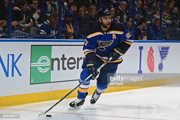 Alex Pietrangelo of the St Louis Blues handles the puck agains the San Jose Sharks at the Scottrade Center on February 4 2016 in St Louis Missouri