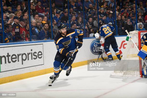 Alex Pietrangelo of the St Louis Blues handles the puck against the Florida Panthers on February 20 2017 at Scottrade Center in St Louis Missouri