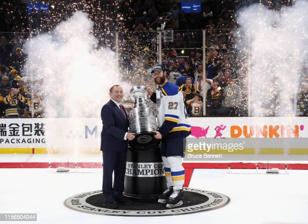 Alex Pietrangelo of the St. Louis Blues holds the Stanley Cup following the Blues victory over the Boston Bruins at TD Garden on June 12, 2019 in...