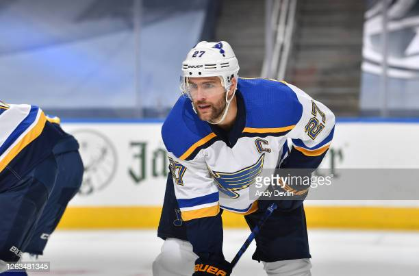 Alex Pietrangelo of the St. Louis Blues lines up in position in the first period of a Round Robin game against the Colorado Avalanche during the 2020...