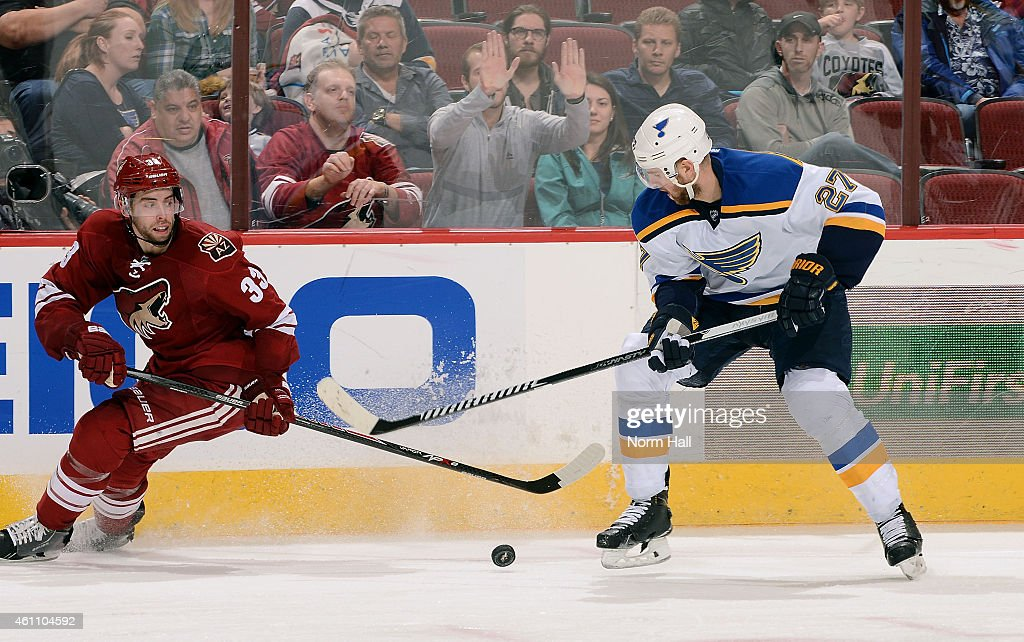 Alex Pietrangelo #27 of the St Louis Blues looks to settle the puck in front of Brandon Gormley #33 of the Arizona Coyotes during the third period at Gila River Arena on January 6, 2015 in Glendale, Arizona.