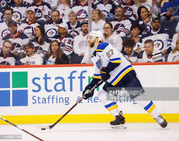 Alex Pietrangelo of the St Louis Blues plays the puck along the boards during third period action against the Winnipeg Jets in Game Two of the...