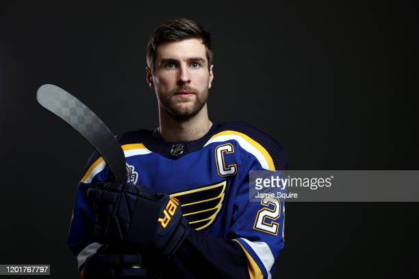 Alex Pietrangelo of the St. Louis Blues poses for a portrait ahead of the 2020 NHL All-Star Game at Enterprise Center on January 24, 2020 in St...