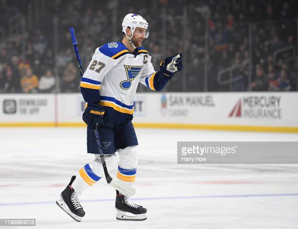 Alex Pietrangelo of the St. Louis Blues reacts to his power-play goal, to take a 2-0 lead over the Los Angeles Kings, during the first period at...