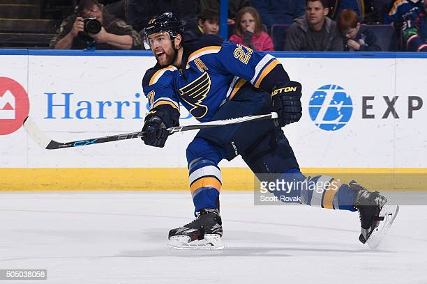 Alex Pietrangelo of the St Louis Blues shoots the puck against the Carolina Hurricanes at the Scottrade Center on January 14 2016 in St Louis Missouri