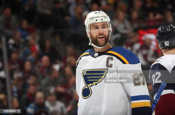 Alex Pietrangelo of the St Louis Blues skates against the Colorado Avalanche at Pepsi Center on January 18, 2020 in Denver, Colorado. The Avalanche...