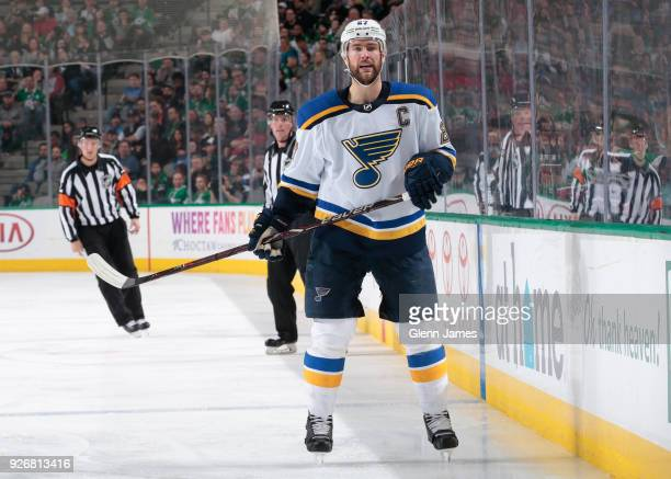 Alex Pietrangelo of the St Louis Blues skates against the Dallas Stars at the American Airlines Center on March 3 2018 in Dallas Texas
