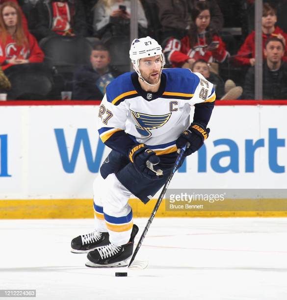 Alex Pietrangelo of the St. Louis Blues skates against the New Jersey Devils at the Prudential Center on March 06, 2020 in Newark, New Jersey. The...