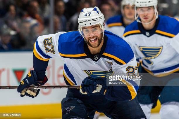 Alex Pietrangelo of the St Louis Blues skates against the Toronto Maple Leafs during the second period at the Scotiabank Arena on October 20 2018 in...