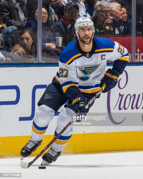 Alex Pietrangelo of the St Louis Blues skates with the puck against the Toronto Maple Leafs during the third period at the Scotiabank Arena on...