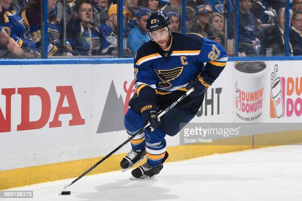 Alex Pietrangelo of the St Louis Blues skates with the puck against the Minnesota Wild in Game Three of the Western Conference First Round during the...