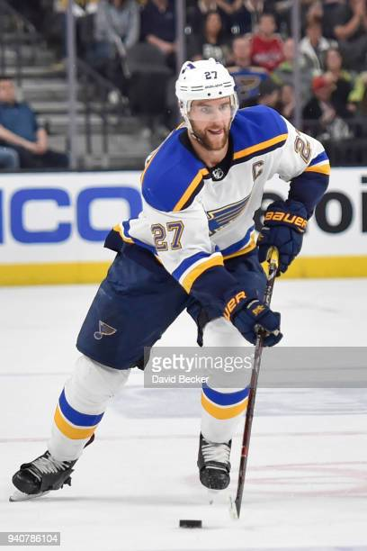 Alex Pietrangelo of the St Louis Blues skates with the puck against the Vegas Golden Knights during the game at TMobile Arena on March 30 2018 in Las...