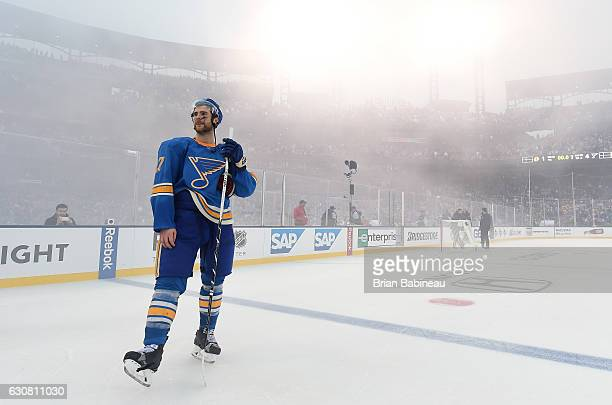 Alex Pietrangelo of the St Louis Blues stands near the blue line after the 2017 Bridgestone NHL Winter Classic at Busch Stadium on January 2 2017 in...