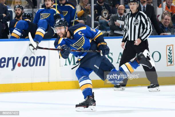 Alex Pietrangelo of the St Louis Blues takes a shot against the Philadelphia Flyers at Scottrade Center on November 2 2017 in St Louis Missouri