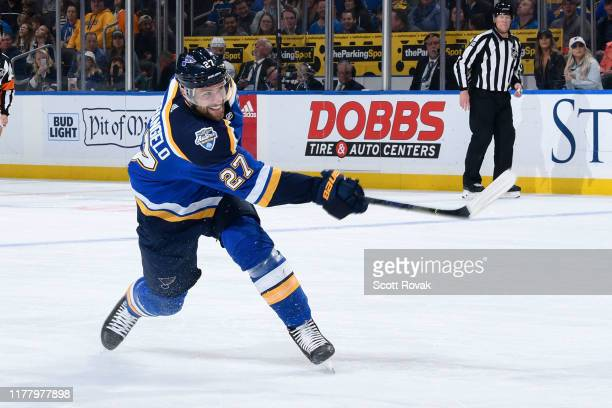 Alex Pietrangelo of the St. Louis Blues takes a shot against the Los Angeles Kings at Enterprise Center on October 24, 2019 in St. Louis, Missouri.