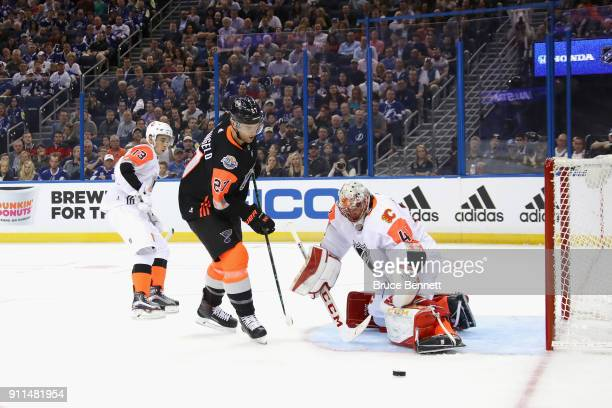 Alex Pietrangelo of the St Louis Blues takes a shot on goal against Mike Smith of the Calgary Flames during the first half 2018 Honda NHL AllStar...