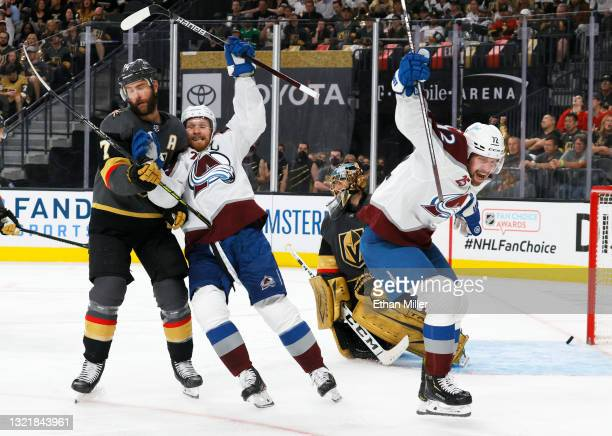 Alex Pietrangelo of the Vegas Golden Knights, Gabriel Landeskog of the Colorado Avalanche, Marc-Andre Fleury of the Golden Knights and Joonas Donskoi...