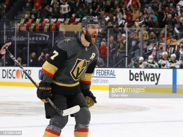 Alex Pietrangelo of the Vegas Golden Knights reacts after assisting Alec Martinez on a second-period power-play goal against the Minnesota Wild in...