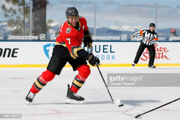 Alex Pietrangelo of the Vegas Golden Knights skates with the puck against the Colorado Avalanche during the 'NHL Outdoors At Lake Tahoe' at the...