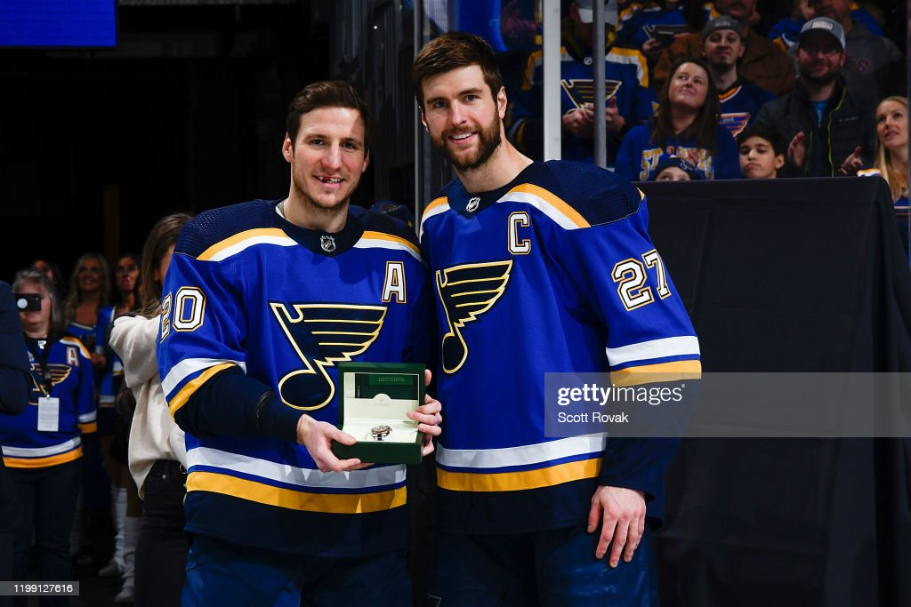 Alex Pietrangelo Presents Alexander Steen Of The St Louis Blues With News Photo Getty Images