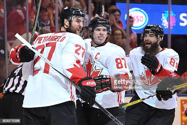 Alex Pietrangelo Sidney Crosby and Brent Burns of Team Canada celebrate after a second period goal on Team USA during the World Cup of Hockey 2016 at...