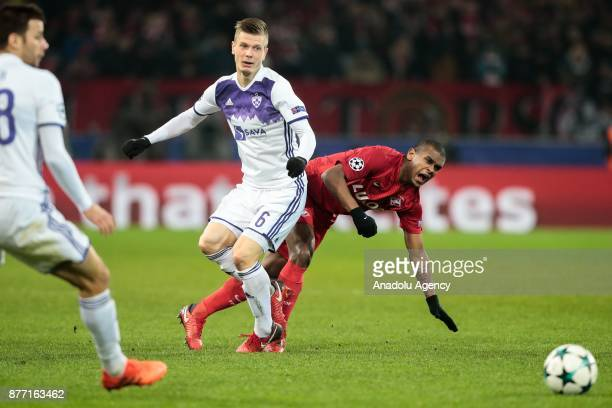 Alex Pihler of Spartak Moscow in action against Fernando of Maribor during the UEFA Champions League match between Spartak Moscow and Maribor at...