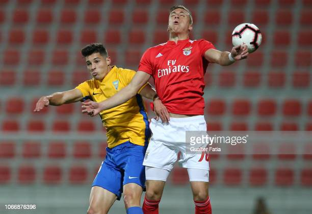 Alex Pinto of SL Benfica B with Filipe Soares of GD Estoril Praia in action during the Ledman Liga Pro match between SL Benfica B and GD Estoril...