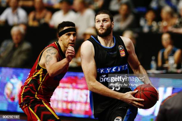 Alex Pledger of the Breakers drives past Josh Boone of United during the round 16 NBL match between the New Zealand Breakers and Melbourne United at...