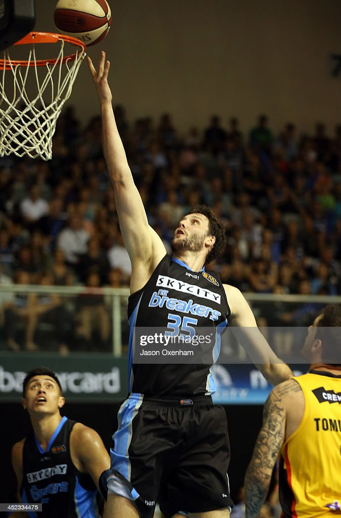 Alex Pledger of the Breakers scores an easy basket during the round eight NBL match between the New Zealand Breakers and the Melbourne Tigers at North Shore Events Centre on November 28, 2013 in Auckland, New Zealand.