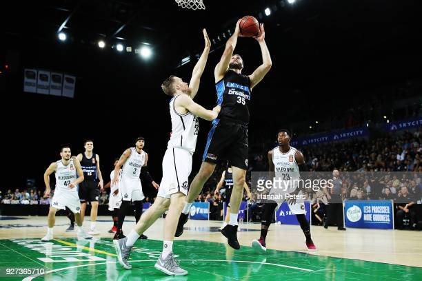 Alex Pledger of the Breakers shoots during game two of the NBL semi final series between Melbourne United and the New Zealand Breakers at Spark Arena...