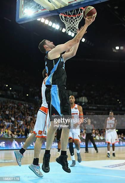 Alex Pledger of the Breakers shoots during the round 11 NBL match between the New Zealand Breakers and the Cairns Taipans at Vector Arena on December...