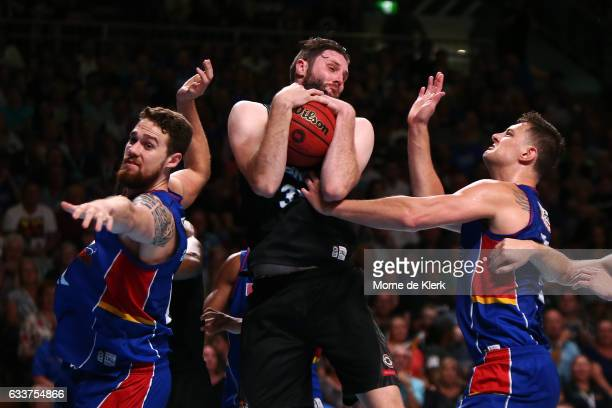 Alex Pledger of the New Zealand Breakers wins a rebound during the round 18 NBL match between the Adelaide 36ers and the New Zealand Breakers at...