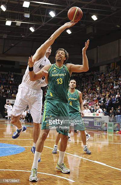 Alex Pledger of the Tall Blacks rebounds during the Men's FIBA Oceania Championship match between the Australian Boomers and the New Zealand Tall...