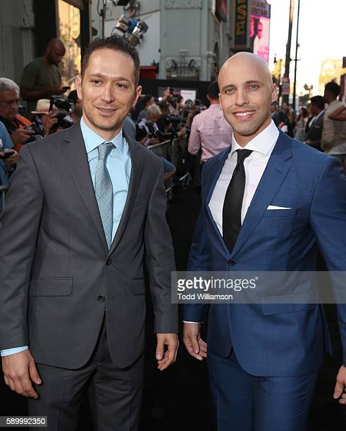 Alex Podrizki and David Packouz attend the premiere Of Warner Bros Pictures' War Dogs at TCL Chinese Theatre on August 15 2016 in Hollywood California