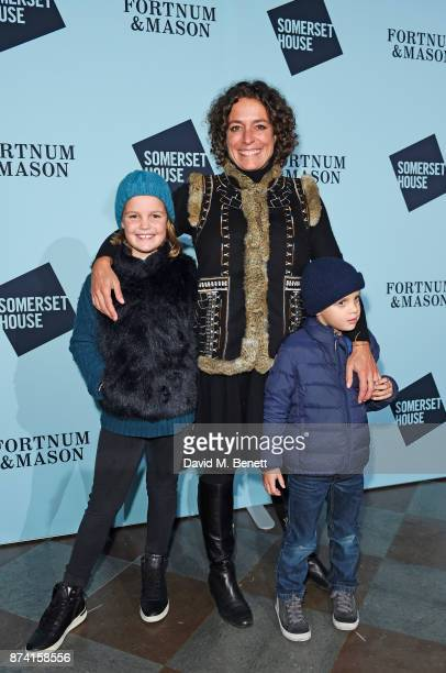 Alex Polizzi with children Olga Miller and Roco Miller attend the opening party of Skate at Somerset House with Fortnum Mason on November 14 2017 in...