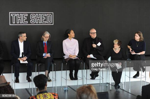 Alex Poots Anne Carson Maureen Mahon HansUlrich Obrist Agnes Denes and Emma Enderby appear onstage as The Shed announces the first seven commissions...