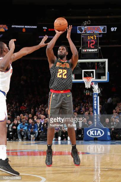 Alex Poythress of the Atlanta Hawks shoots the ball against the New York Knicks during the game on October 17 2018 at Madison Square Garden in New...