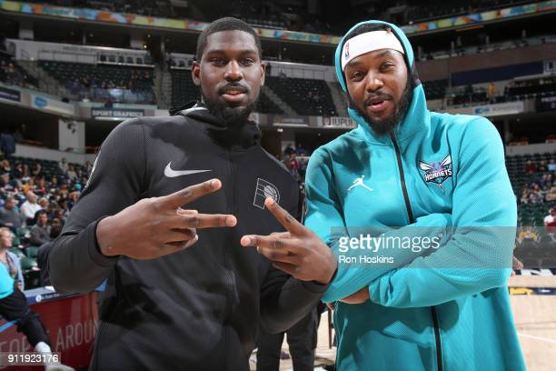Alex Poythress of the Indiana Pacers and Julyan Stone of the Charlotte Hornets before the game on January 29 2018 at Bankers Life Fieldhouse in...