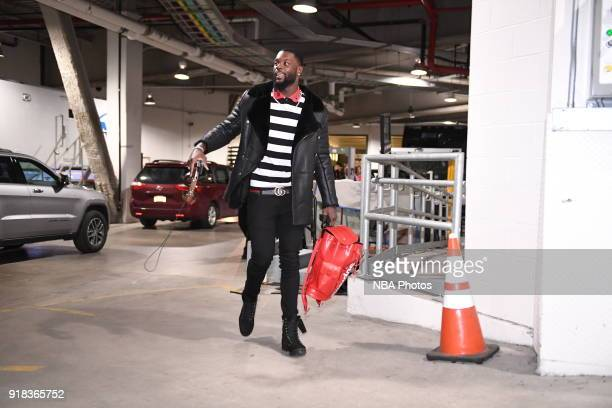 Alex Poythress of the Indiana Pacers arrives to the arena prior to the game against the Brooklyn Nets on February 14 2018 at Barclays Center in...