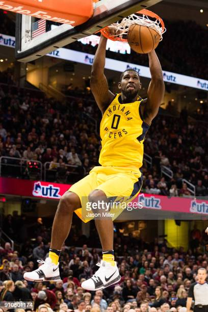 Alex Poythress of the Indiana Pacers dunks during the first half against the Cleveland Cavaliers at Quicken Loans Arena on January 26 2018 in...