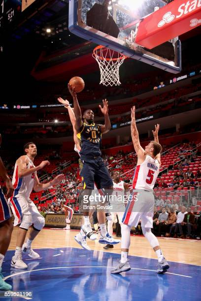 Alex Poythress of the Indiana Pacers goes to the basket against the Detroit Pistons on October 9 2017 at Little Caesars Arena in Detroit Michigan...
