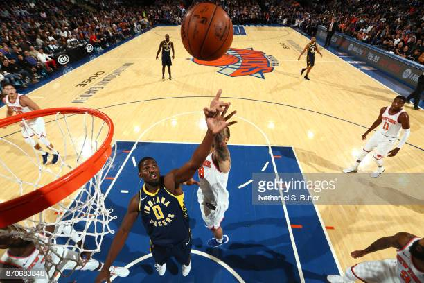 Alex Poythress of the Indiana Pacers goes up for a rebound against the New York Knicks on November 5 2017 at Madison Square Garden in New York City...