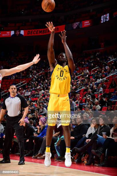 Alex Poythress of the Indiana Pacers shoots the ball against the Detroit Pistons on December 26 2017 at Little Caesars Arena in Detroit Michigan NOTE...