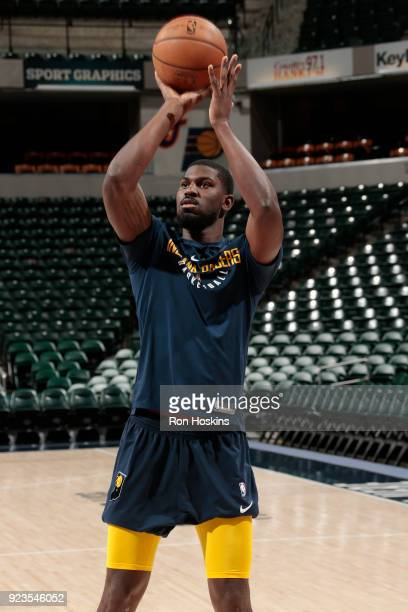 Alex Poythress of the Indiana Pacers shoots the ball before the game against the Atlanta Hawks on February 23 2018 at Bankers Life Fieldhouse in...