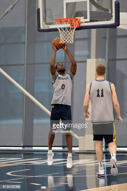 Alex Poythress of the Indiana Pacers shoots the ball during an all access practice at St Vincent Center and Indiana Pacers Training Facility on...