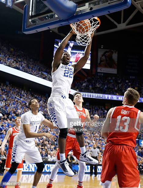 Alex Poythress of the Kentucky Wildcats dunks the ball during the game against the Boston Terriers at Rupp Arena on November 24 2015 in Lexington...