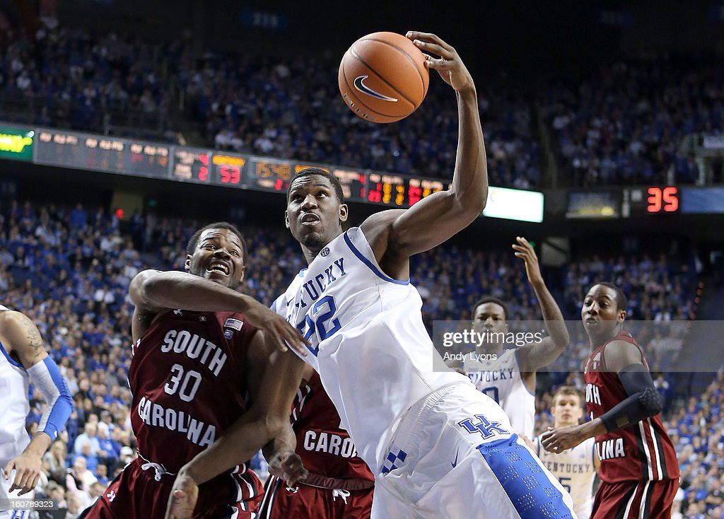 Alex Poythress #22 of the Kentucky Wildcats grabs a rebound during the game against the South Carolina Gamecocks at Rupp Arena on February 5, 2013 in Lexington, Kentucky.